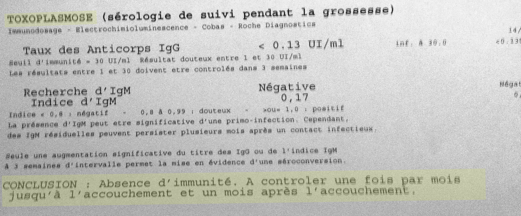 infection analyse de sang